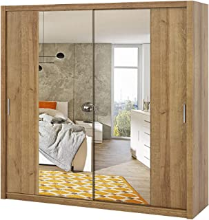 Selsey Rinker - Armoire Portes coulissantes - Or Artisanal chêne - 220 cm - avec Miroir