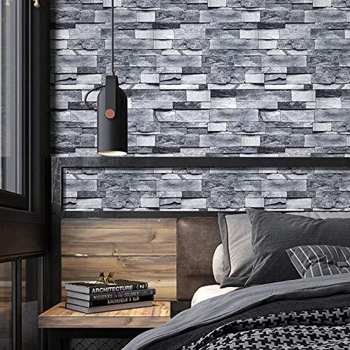 Grey Brick Wallpaper Selbstklebendes Kontaktpapier Wasserdichte Küche Badezimmer Schlafzimmer Wandaufkleber 3D Slate Stone Brick Effekt Geschenkpapier-Dark Grey_45x600cm