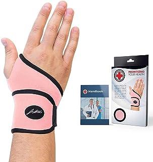Doctor Developed Premium Ladies Pink Wrist Support / Wrist Strap / Wrist Brace / Hand Support [Single] & Doctor Handbook- مناسب برای هر دو دست راست و چپ (صورتی)