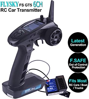 Xiangtat Flysky FS-GT5 6CH RC Transmitter with FS BS6 Receiver, 2.4Ghz AFHDS 2A Protocol Transmitter and Receiver for RC Car Boat ( Failsafe Function + 200m Range + Great Ergonomic + 4 Climbing Mode )