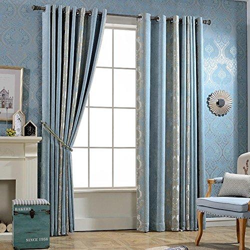 Rideaux et drapés épais en chenille brodée bleu pour fenêtres - 2 panneaux (250 x 270 cm)