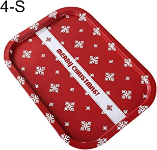 Choners Christmas Ornaments: Christmas Santa Claus Elf Snowflake Rectangle Food Snack Fruit Tray Plate Holder - Christmas Cheer L Red Snowflake Letter