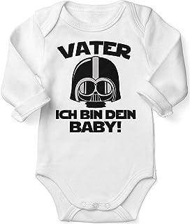 Mikalino Babybody mit Spruch für Jungen Mädchen Unisex Langarm Vater - ich Bin Dein Baby!   handbedruckt in Deutschland   Handmade with Love