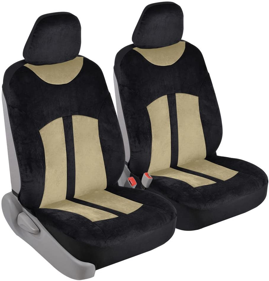 Velvet Smooth Velour Car Seat Covers for Front Seats Only, Black & Tan Beige - Universal Fit for Cars, Trucks, Vans and SUVs