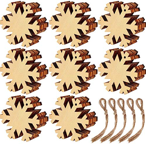 KAHEIGN 60Pcs Wooden Christmas Ornaments, Snowflake Shape Wood Slice Ornaments for New Year Christmas Tree DIY Pendant Decoration - with 60Pcs Hanging Cords