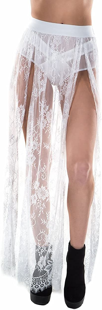 iHeartRaves Women's High Waisted Maxi Skirts Sheer Mesh Lace Side Slit Skirts