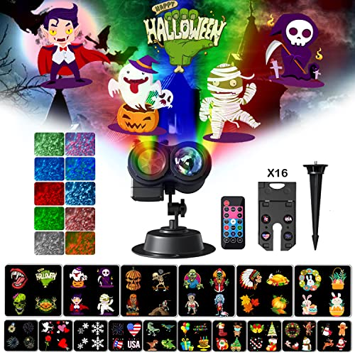Halloween Christmas Projector Lights Outdoor, 2-in-1 Ocean Wave Holiday Light Projector with 16 HD Slides 10 Colors Waterproof LED Projection Lights for Indoor Holiday Party Home Garden Decorations