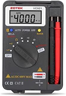 Digital Multimeter, Auto Ranging Pocket Digital Multimeter Digital Multi Tester - AC DC Voltage DC Current Resistance Diodes Capacitance Transistor Backlit LCD Measuring Instrument (VC921)