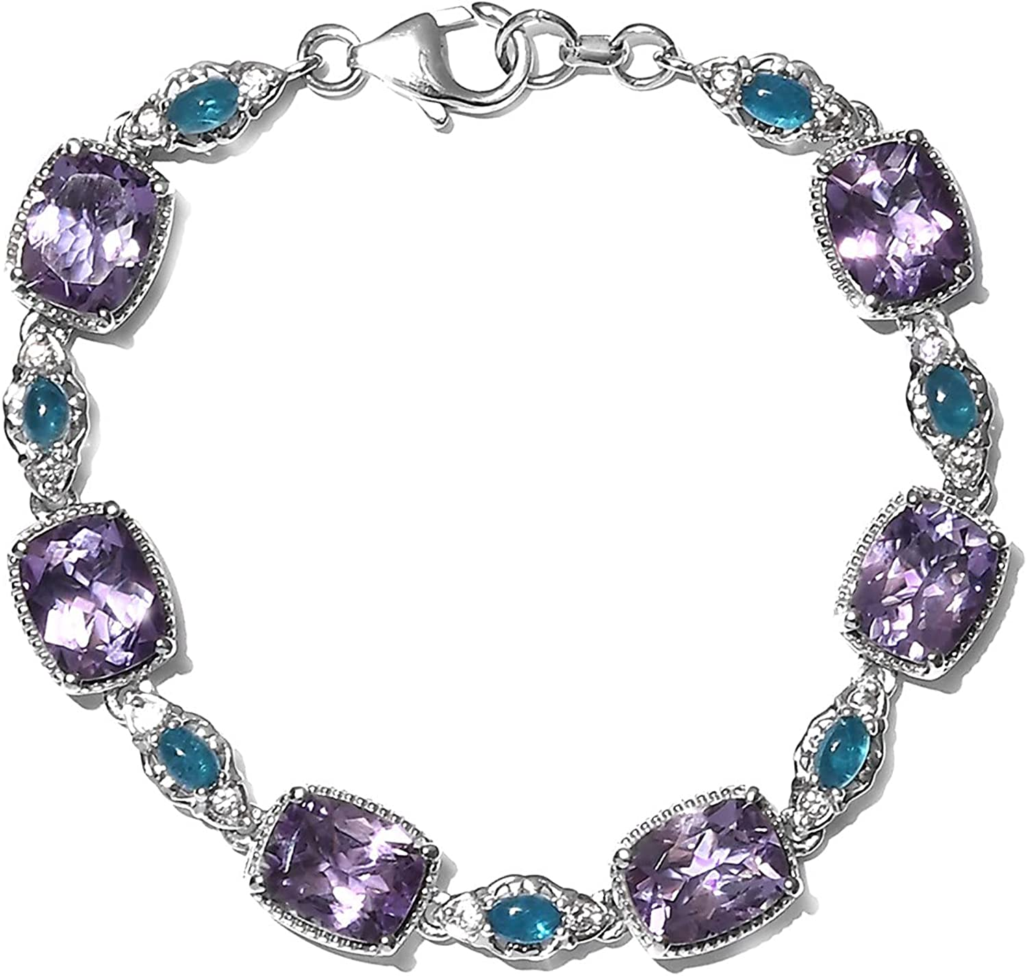 Shop LC 925 Sterling Silver Cushion Seattle Mall Neon Max 47% OFF A Amethyst Natural Pink