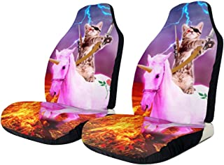 QBahoe Car Seat Covers Warrior Art Riding Flame Unicorn Universal Front Seat Covers Saddle Blanket Seat Cover Protectors for Cars Truck SUV Van
