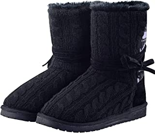 DGrut Women's Slipper Ankle Boot Knit Lace Anti-Slip House Shoes