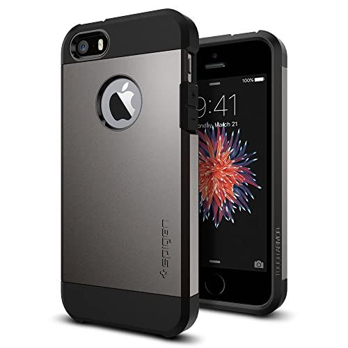 "Spigen ""Tough Armor Heavy Duty Extreme Protection Rugged Dual Layer Protective Case for iPhone 5/5S/SE- Gunmetal"