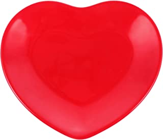 NUOBESTY Assiette en forme de cœur, pour la Saint-Fruits, gâteau, décoration de fête rouge