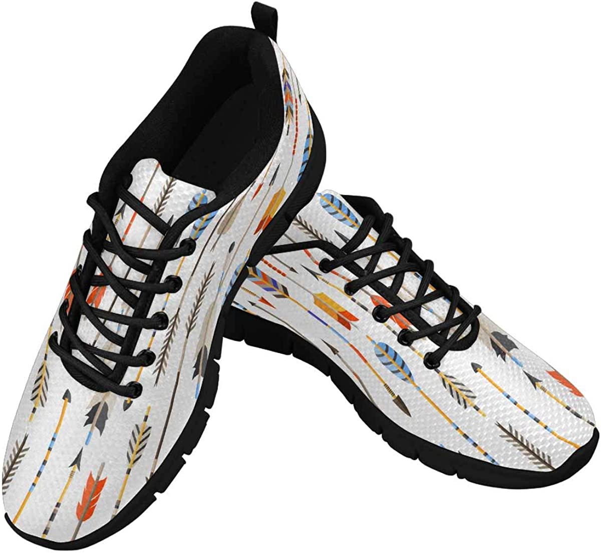 InterestPrint Ethnic Pattern with Indian Arrows Lightweight Mesh Breathable Sneakers for Women
