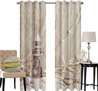 hengshu Fishing Net Curtains for Sliding Glass Door Marine Theme with Sea Stars and Shells Underwater Life Wooden Lighthouse Print Room Decor Blackout Shades W100 x L84 Inch Beige Cream