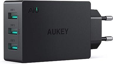 AUKEY Cargador USB de Pared con 3 Puertos USB 30W / 6A con Tecnología AiPower Una Corriente Máxima de 2,4A Cargador Móvil para iPhone XS / XS Max / XR, iPad Air / Pro, Samsung, HTC, LG, Nexus y más