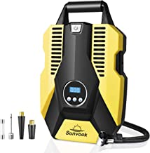 Portable Air Compressor Pump Digital Tire Inflator 12V DC Air Tire Pump (Yellow)