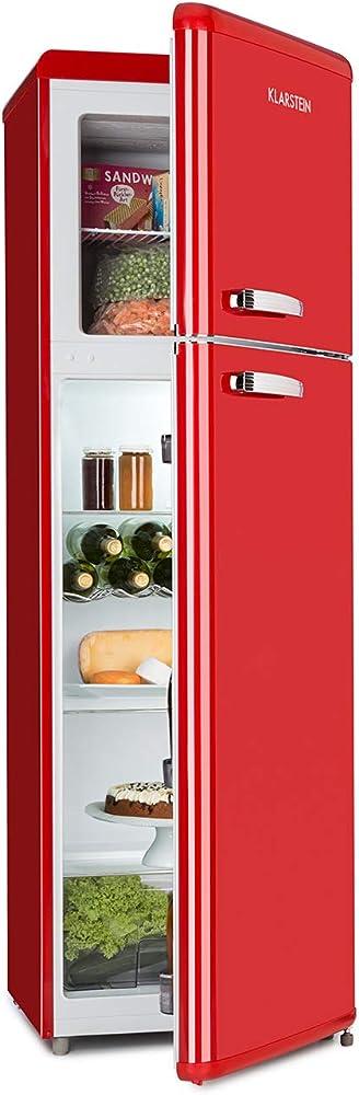 Klarstein audrey retro, frigorifero, freezer, combinazione frigo-congelatore,efficienza energetica a++ CO2-90300-monr