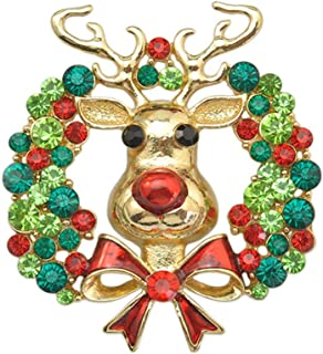AINOW Fashion Crystal Christmas Xmas Brooch Pin Decor Gifts