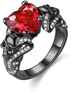 FLIUAOL مجوهرات القوطية الأرجواني الأحمر الأسود كريستال فريد أسود خواتم الجمجمة للنساء
