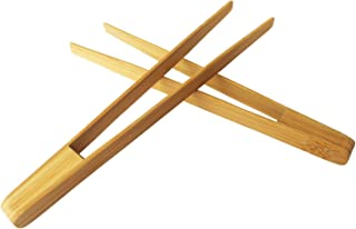 Gaoominy Pinces De Cuisine en Bambou Outil De Pinces Reutilisable De 9,6 Pouces pour Cuisson Pain Grille Bagels Et Gateaux
