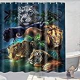 Duschvorhang mit Wildtier-Motiv, Löwe, Tiger, Leopard, Panther, Stoff, Badezimmer-Dekor-Set mit Haken, wasserdicht, waschbar, Grün, Orange & Schwarz (60 W × 70 L)