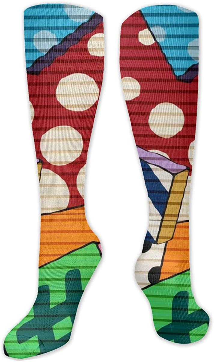 Nice Graffiti Knee High Socks Leg Warmer Dresses Long Boot Stockings For Womens Cosplay Daily Wear