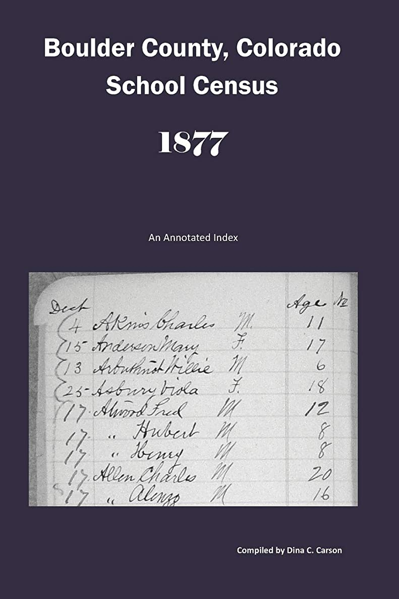 Boulder County, Colorado School Census 1877: An Annotated Index