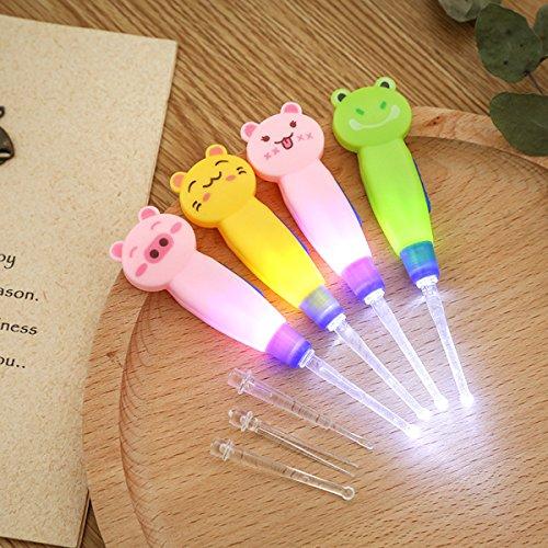 ULTNICE Led Lampe de poche Earpick Cuillère Earpick Ear Curette LED - 2pcs (chat rose)