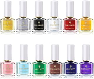 Nacido Pretty 6 ml Nail Art Stamping polaco manicura Candy Color placa impresión de la laca barniz 12 colores Set