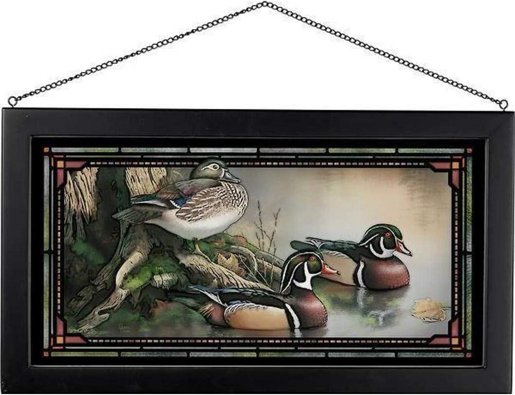 Backwater Wood Ducks 23-inch Width Wild Wings 5386500028 Stained Glass Art