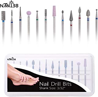 NMKL38 12PCS Cuticle Nail Drill Bits Electric Nail File Burrs Rotary Nail Cleaner Polishing Buffing File Grinder for Nail Salon Manicure Pedicure Tools
