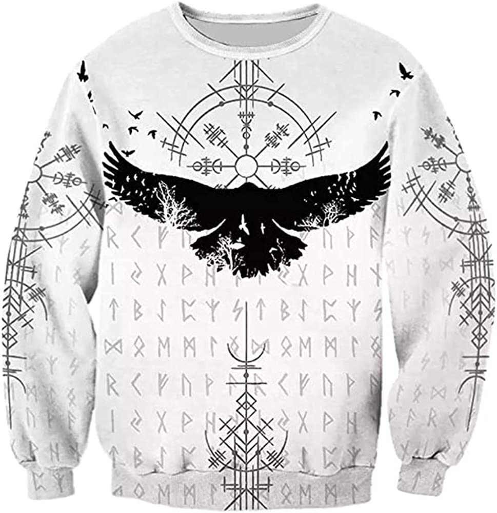 Viking Compass Crow Tattoo Hoodie Norse Mythology 3D Printed Rune Sweatshirt Oversized Loose Casual Sports Pullover Unisex