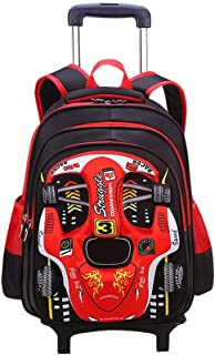 GLJJQMY Travel Backpack Can Climb Stairs Waterproof and Wearable Student Trolley Bag Backpack Trolley Backpack (Color : Red, Size : 42x18x32cm)