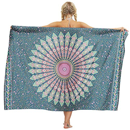 Nuofengkudu Damen Sarong Rock Hippie Floral Bedruckte Bikini Cover up Strandkleid Lange Wrap Urlaub Party Strand Outfits Strandtuch