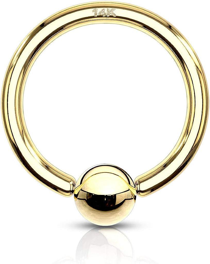 18 Ranking TOP18 Gauge 1 4 Inch Ranking TOP3 3mm Bead 14K Gold Ring Captive Hoop Solid