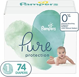 Diapers Newborn / Size 1 (8-14 lb), 74 Count - Pampers Pure Disposable Baby Diapers, Hypoallergenic and Unscented Protection, Super Pack