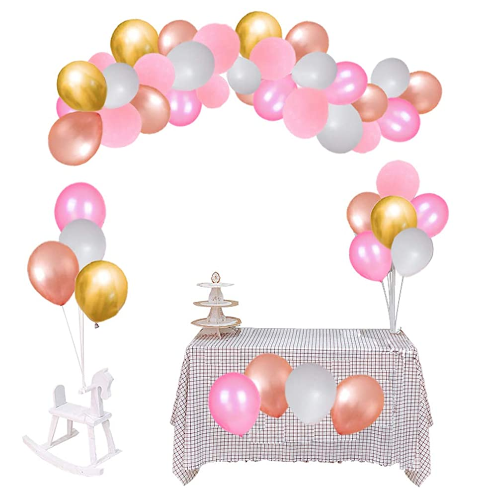 Latex Party Balloons 100 Pcs Pink Balloons Gold Latex Metal Pearl Balloons Rose Gold balloons and White Balloons & Decorating Strip + inflator + Masking Tape Party Decoration Birthday Wedding Baby Shower