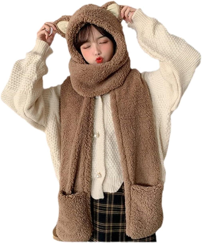 Women Fluffy Plush Warm 3 In 1 Hooded Scarf Hat Gloves Set Cartoon Cat Ears Winter Windproof Earflap Cap Pocket Mittens