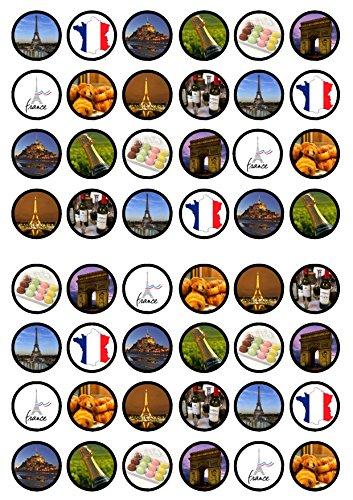 48francese/Francia Parigi Theme commestibili Premium spessore zuccherato vaniglia, wafer Rice Paper mini cupcake topper, cake pops, Cookies