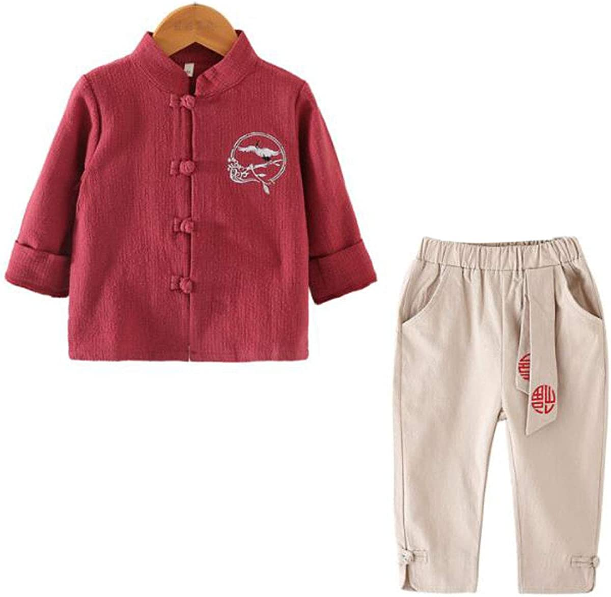 WenWen Toddler Little Boy's Chinese Casualwear Tang Suit Shirt Pants Clothing Set (red,Height 47.2