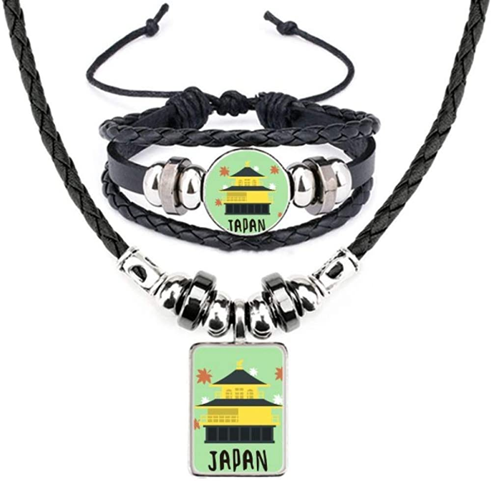 Local Japanese Travelling Building Leather Necklace Bracelet Jewelry Set