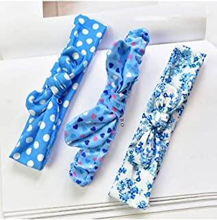 MANOMI Baby Girls' Cotton Headbands Knotted Stretchy Cotton Soft Headbands Polka Dots Headband Baby Girl 3 Packs Infant To...