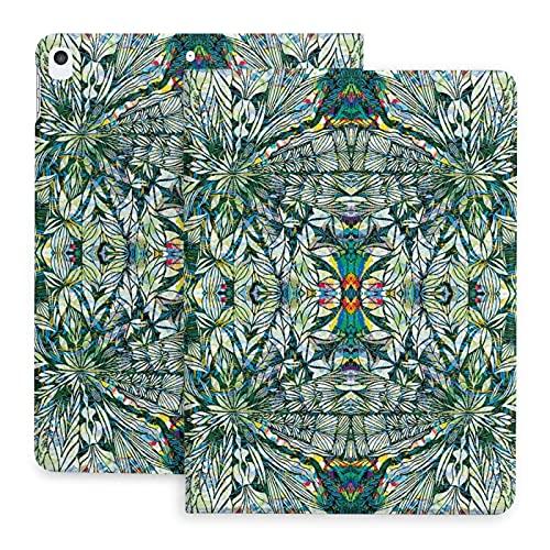 Sweet grape Funda para iPad 2020 de 10,2 pulgadas con lápiz, diseño de patrón geometría verde, soporte trasero cubierta protectora de cuerpo completo TPU