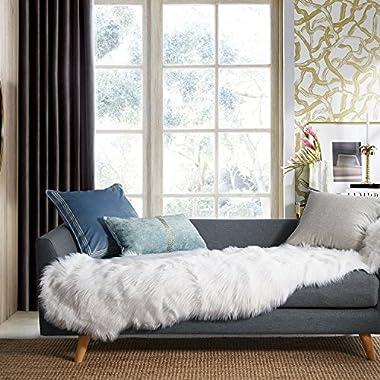Ashler Soft Faux Sheepskin Fur Chair Couch Cover Area Rug For Bedroom Floor Sofa Living Room 2 x 6 Feet White
