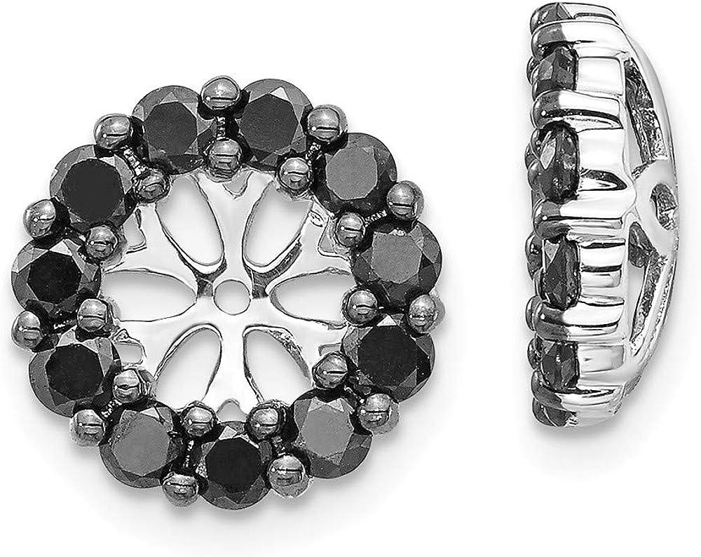 14K White Gold Black Diamond Round Earring Jackets 5.00 mm Opening for Stud Earrings (0.99Cttw)