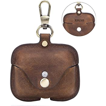 Case Leather for Airpods Pro,Protective Cover Skins with Keychain by EIGNO,Compatible with Apple AirPod Pro, Crazy Horse Leather with Loss Prevention Clip Case Headphone Cover (Coffee)