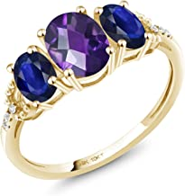 Gem Stone King 10K Yellow Gold Purple Amethyst and Blue Sapphire Women Engagement Ring (4.41 Ct Oval Checkerboard, Available in size 5, 6, 7, 8, 9)