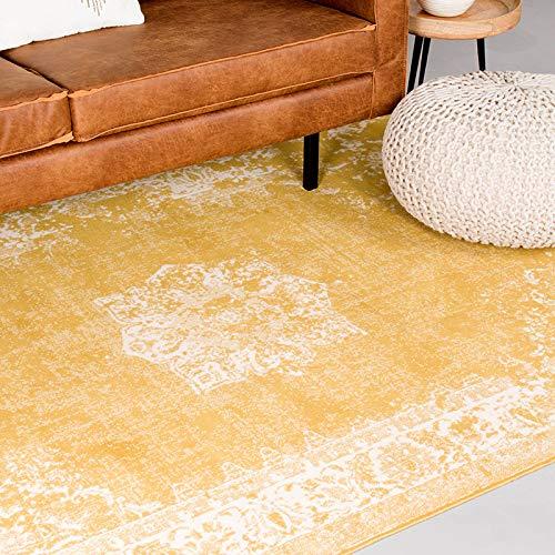 FRAAI | Home & Living Vintage Teppich - Wonder Gelb, Ockergelb, Orientteppich, super weich, pflegeleicht, hoher qualität, rechteckig, synthetisch, orientalisch, antiallergisch (140x190cm)