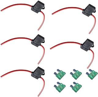 Mintice 5 X KFZ Sicherungshalter Gehäuse vergossen Flachsicherungen 12 Ga 30A Inline Wasserdichte Box Stecker